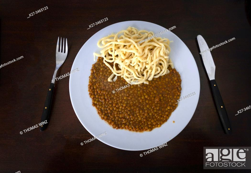 Stock Photo: Spätzle ( egg noodles ) and lentils , southern german specialty.