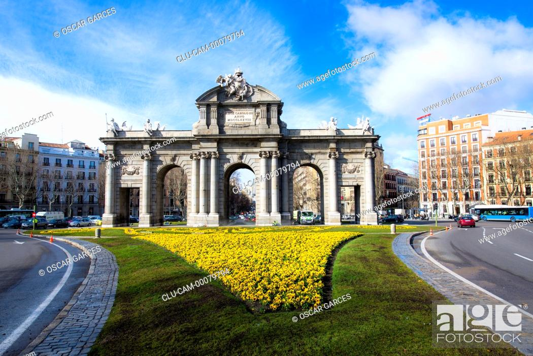 Stock Photo: Alcala Gate, Independence Square, Madrid, Spain, Western Europe.