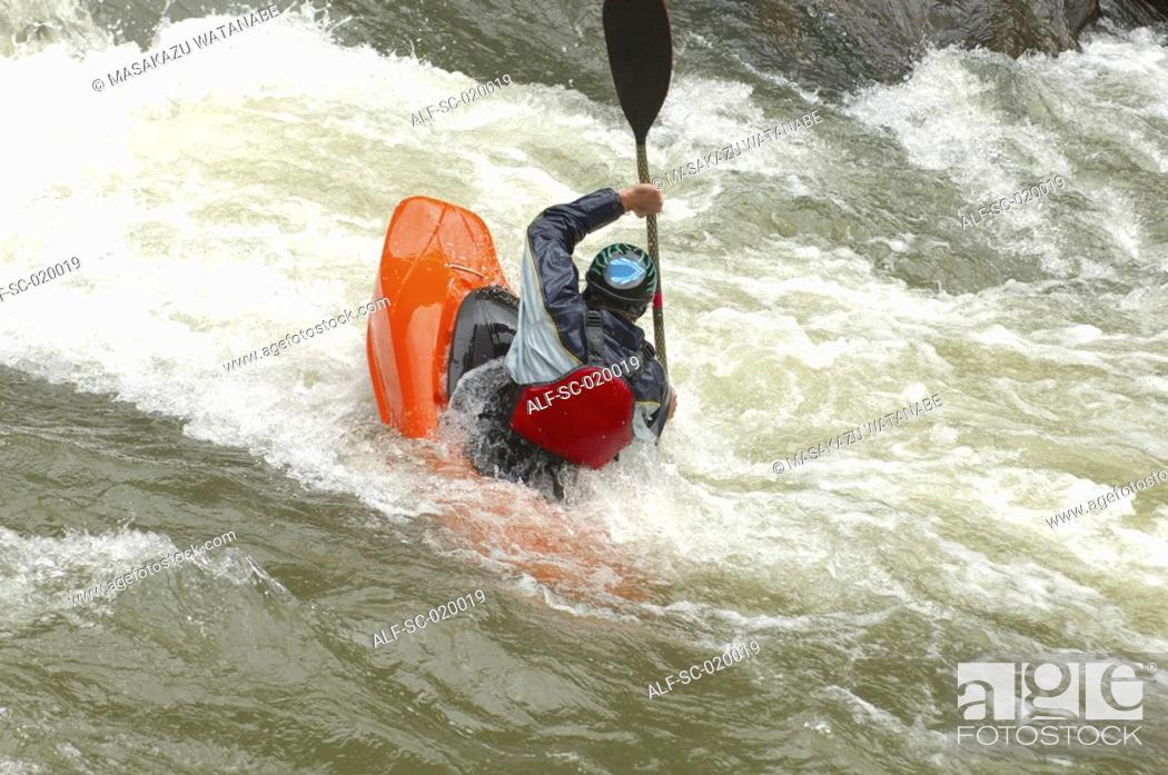 Stock Photo: Kayaker Negotiating the River.
