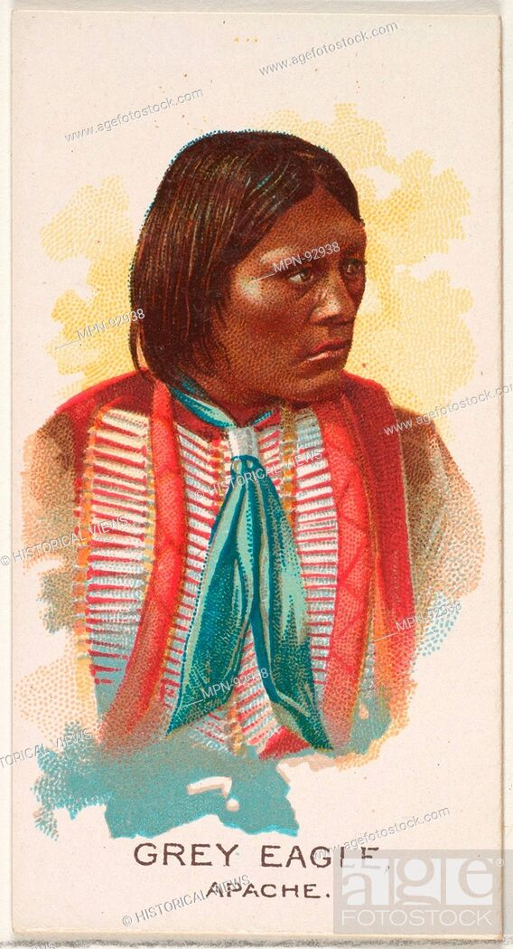 Imagen: Grey Eagle, Apache, from the American Indian Chiefs series (N2) for Allen & Ginter Cigarettes Brands. Publisher: Issued by Allen & Ginter (American, Richmond.