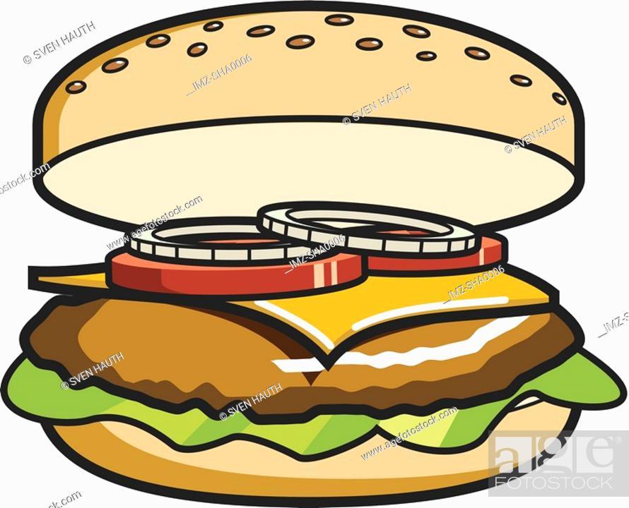 Stock Photo: A drawing of a big, delicious cheeseburger.