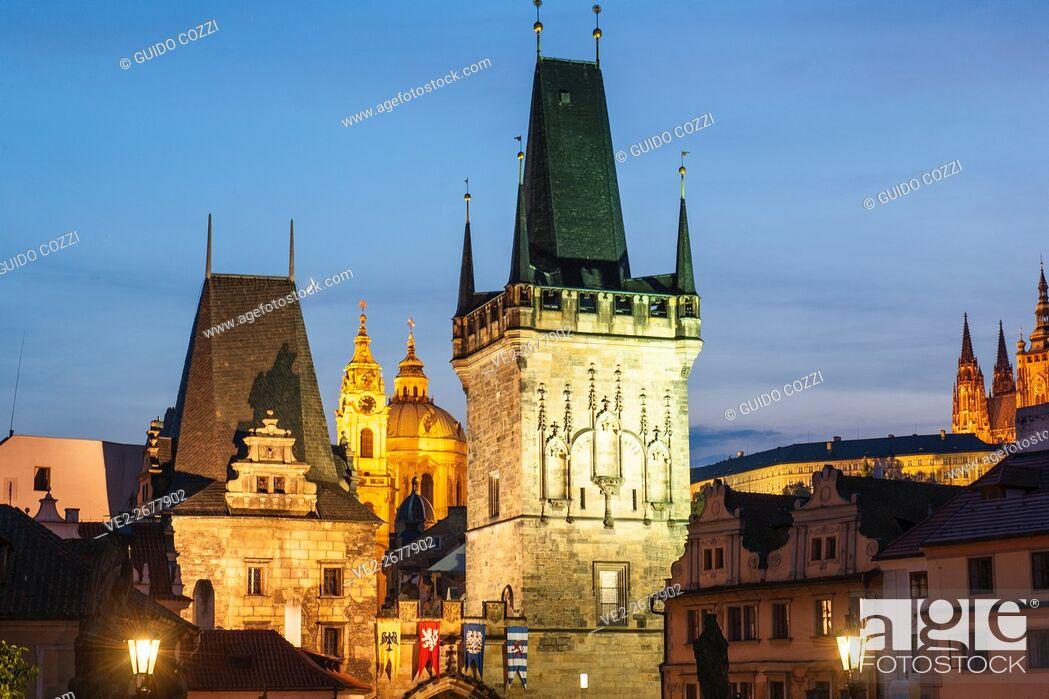 Stock Photo: View of Mala Strana from Charles Bridge, Prague, Czech Republic.