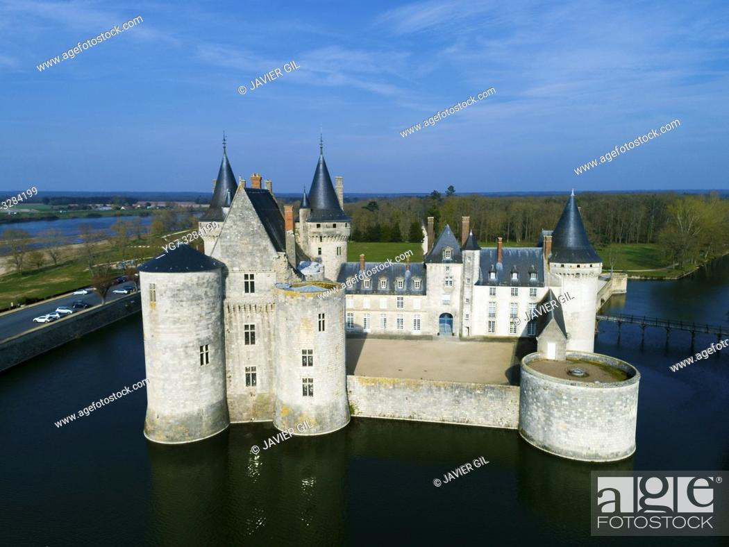 Stock Photo: Castle of Sully-Sur-Loire, Loiret, Centre-Val de Loire, France.