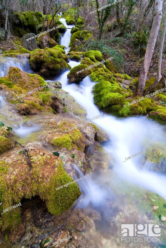 Stock Photo: Rio Urederra in the Sierra de Navarra Spain Europe Urbasa.