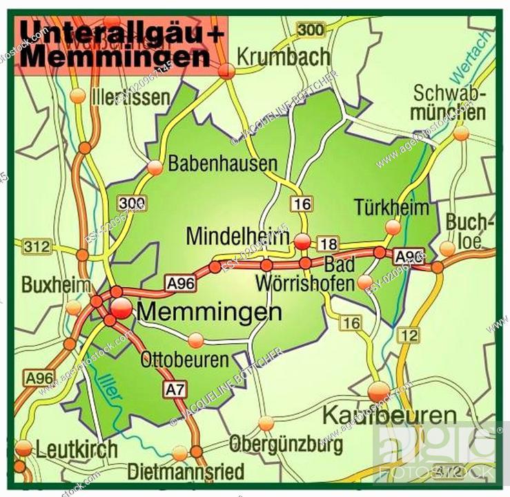 Stock Vector: Karte von Unterallgaeu-Memmingen mit Verkehrsnetz.