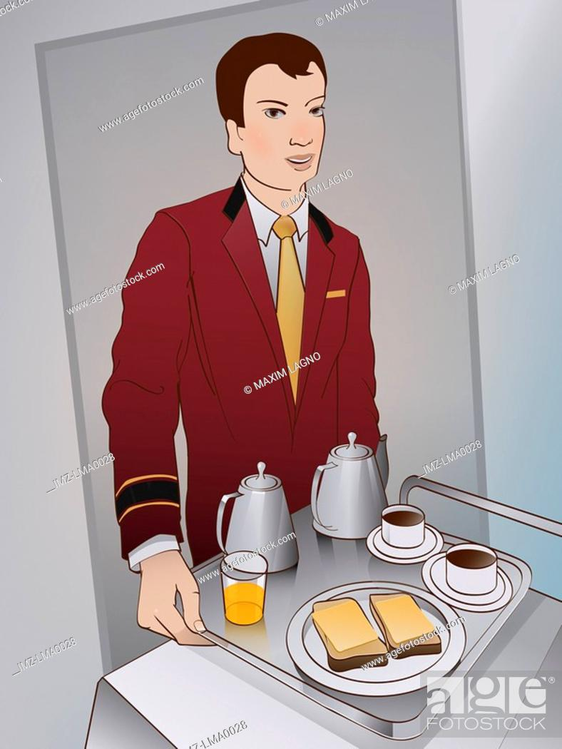 Stock Photo: A hotel staff member bringing room service.