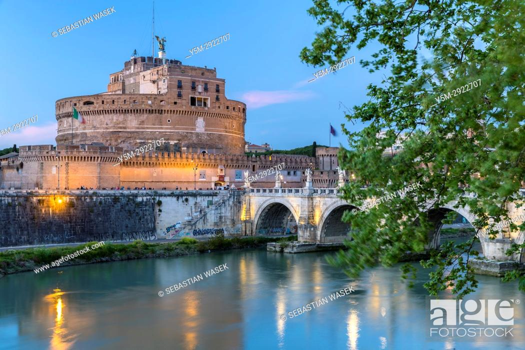 Stock Photo: The Mausoleum of Hadrian, usually known as Castel Sant'Angelo a towering cylindrical building in Parco Adriano, Rome, Lazio, Italy, Europe.