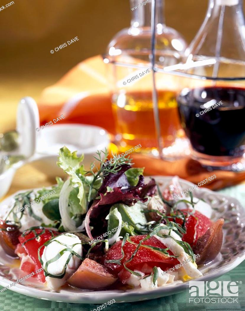 Fig and tomato salad recipe of bruno doucet restaurant la stock photo fig and tomato salad recipe of bruno doucet restaurant la rgalade paris 14eme france forumfinder Choice Image