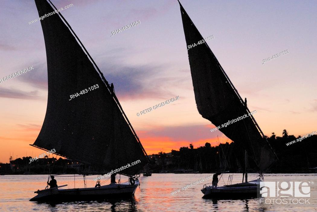 Stock Photo: Feluccas on the River Nile, Aswan, Egypt, North Africa, Africa.