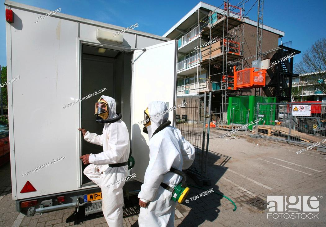 Stock Photo: Recycling of Asbestos All municipalities in The Netherlands are required to provide known collection points for recyclable and/or hazardous materials All types.
