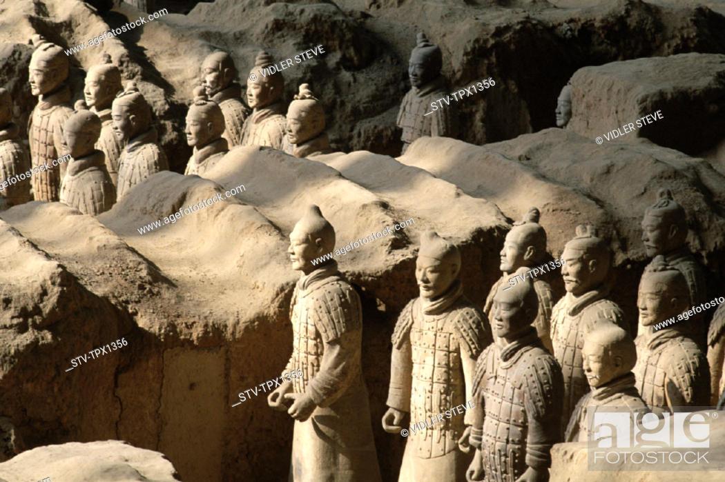 Stock Photo: Army, Asia, Battle, China, Dynasty, Formation, Heritage, Holiday, Landmark, Province, Qin, Shaanxi, Terracotta, Terracotta warri.