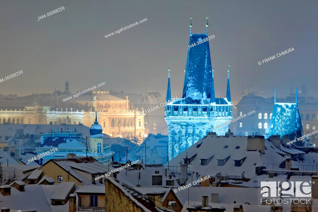 Stock Photo: Czech Republic, Prague - Rudolfinum Concert Hall and Rooftops of Mala Strana.