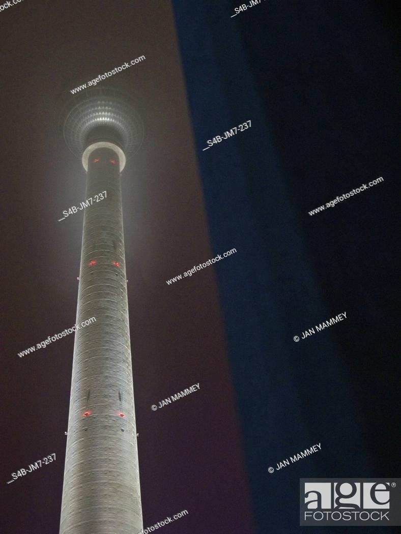 Stock Photo: Illuminated Berlin TV Tower at night, Germany.