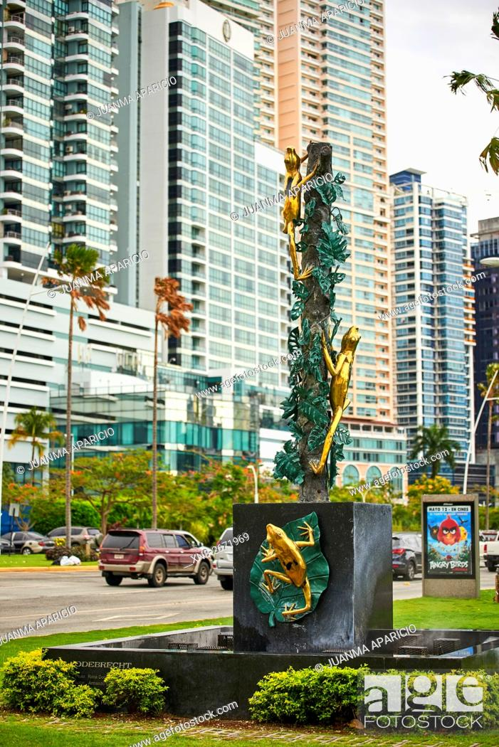 Stock Photo: Golden Frog, Panama City, Panama, Republic of Panama, Central America.