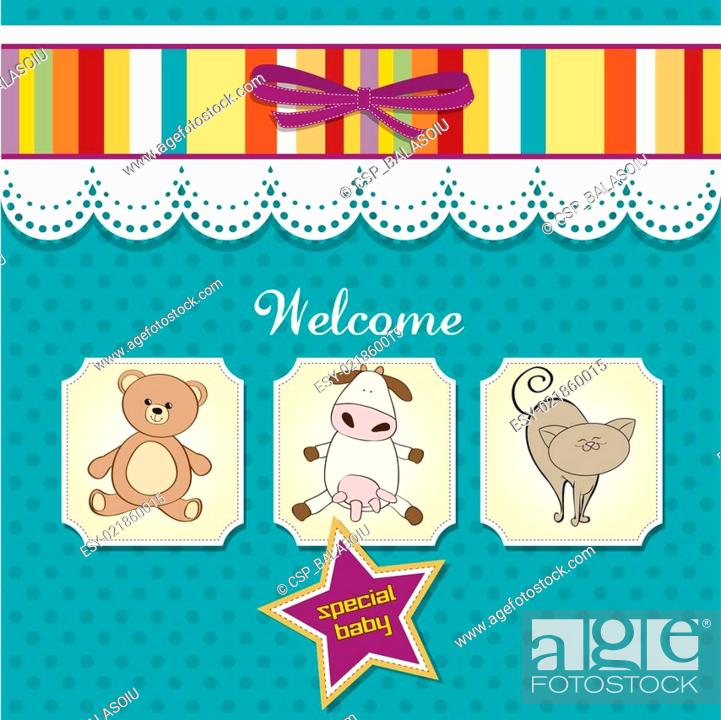 Stock Vector: baby shower card with toys.