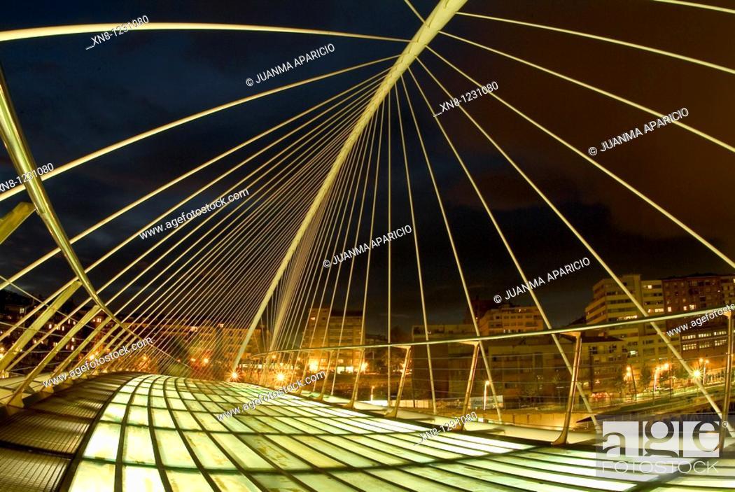 Stock Photo: Zubizuri Bridge, Santiago Calatrava, Bilbao, Spain.