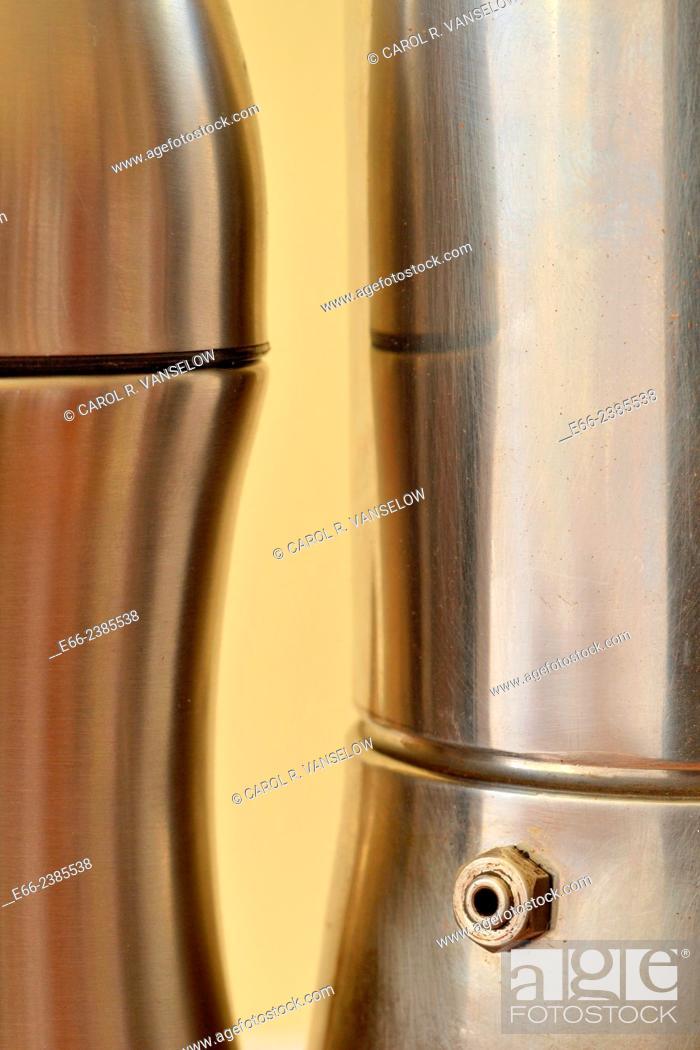 Stock Photo: silver aluminium thermos standing next to stainless steel espresso pot.