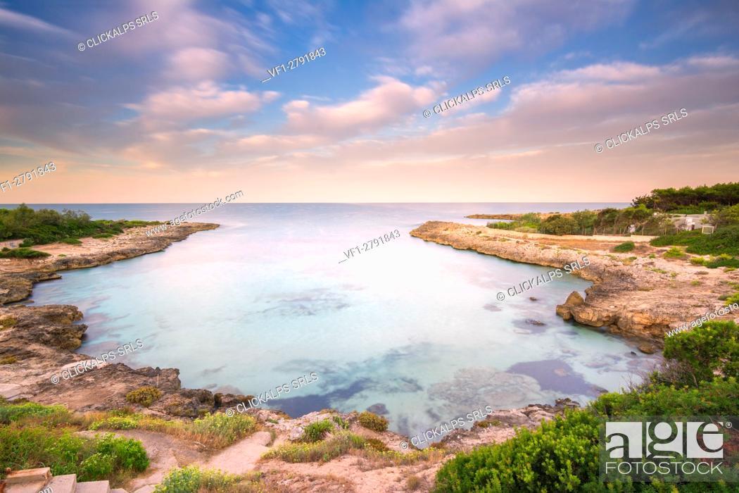 Stock Photo: Europe, Italy, Salento beaches at sunrise, province of Taranto, Apulia.
