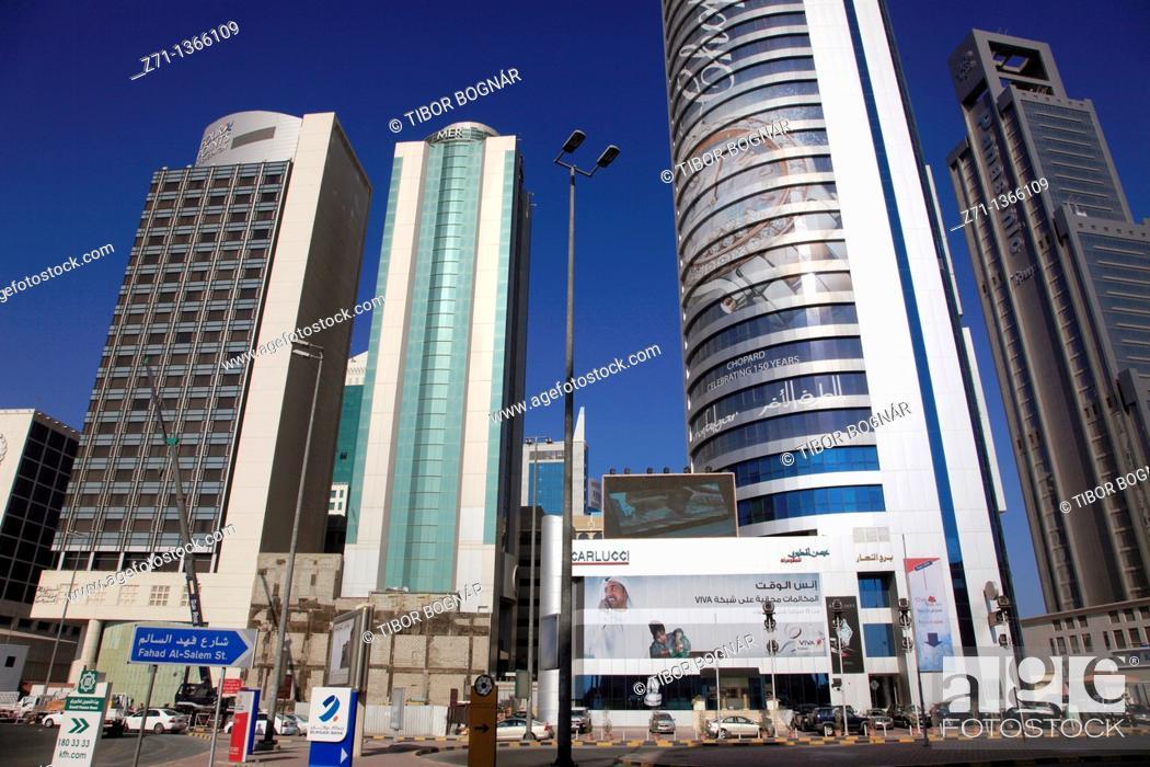 Stock Photo: Kuwait, Kuwait City, street scene, skyscrapers,.