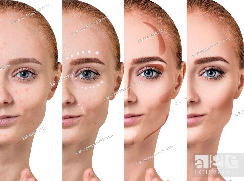 Imagen: Young redhead woman applying make-up step by step. Before and after make-up.