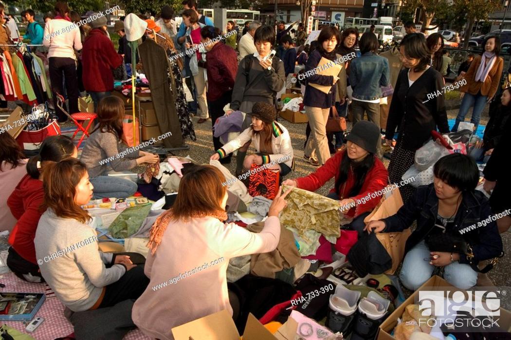 Stock Photo: Flea market, City Hall, Kyoto city, Honshu, Japan, Asia.