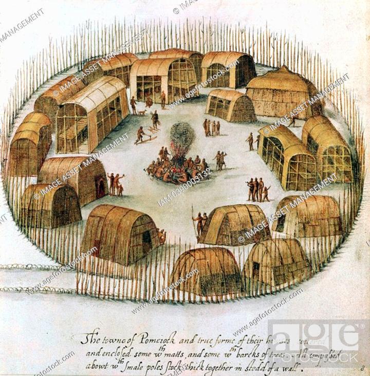 Native American Algonquin Indian village of Pomeiock, Gibbs