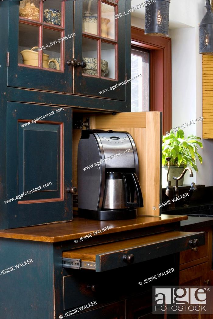 Stock Photo Kitchen Details Custom Furniture Style Cabinets By David Smith Open Door Reveals Coffee Maker And Pull Out Work Space Distressed Dark Green