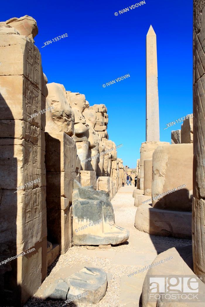Stock Photo: Obelisk, Amun-Re temple, Karnak, Egypt.