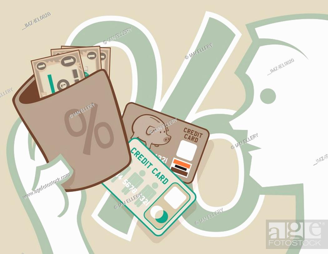 Stock Photo: A graphical illustration of a mile figure opening his wallet to dollar bills and credit cards with a large percentage symbol in the background.