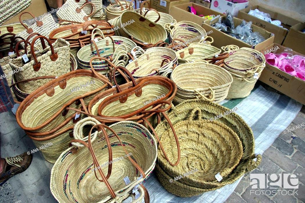 Stock Photo: Basketwork for sale at market, Santanyi. Majorca, Balearic Islands, Spain.