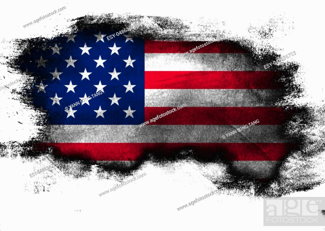 Stock Photo: United States flag painted with brush on white background, 3D rendering.