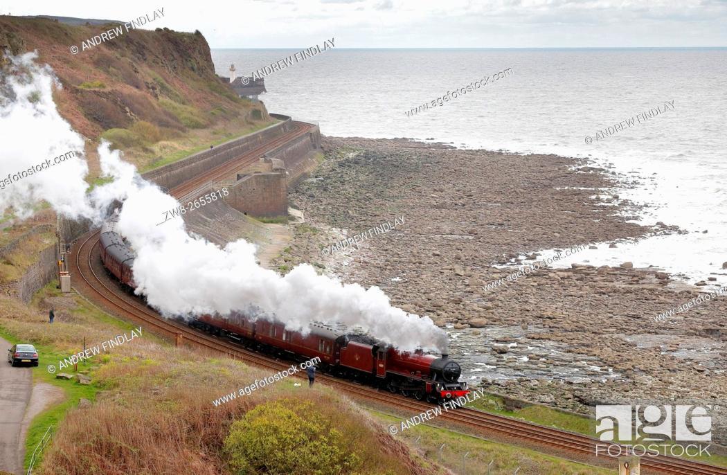 Stock Photo: Steam train LMS Jubilee Class 45699 Galatea. Tanyard Bay, Parton, Whitehaven, Cumbria, England, United Kingdom, Europe.