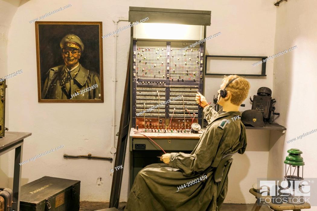Stock Photo: United Kingdom, Channel Islands, Jersey, The Jersey War Tunnels, German Telephone Exchange.