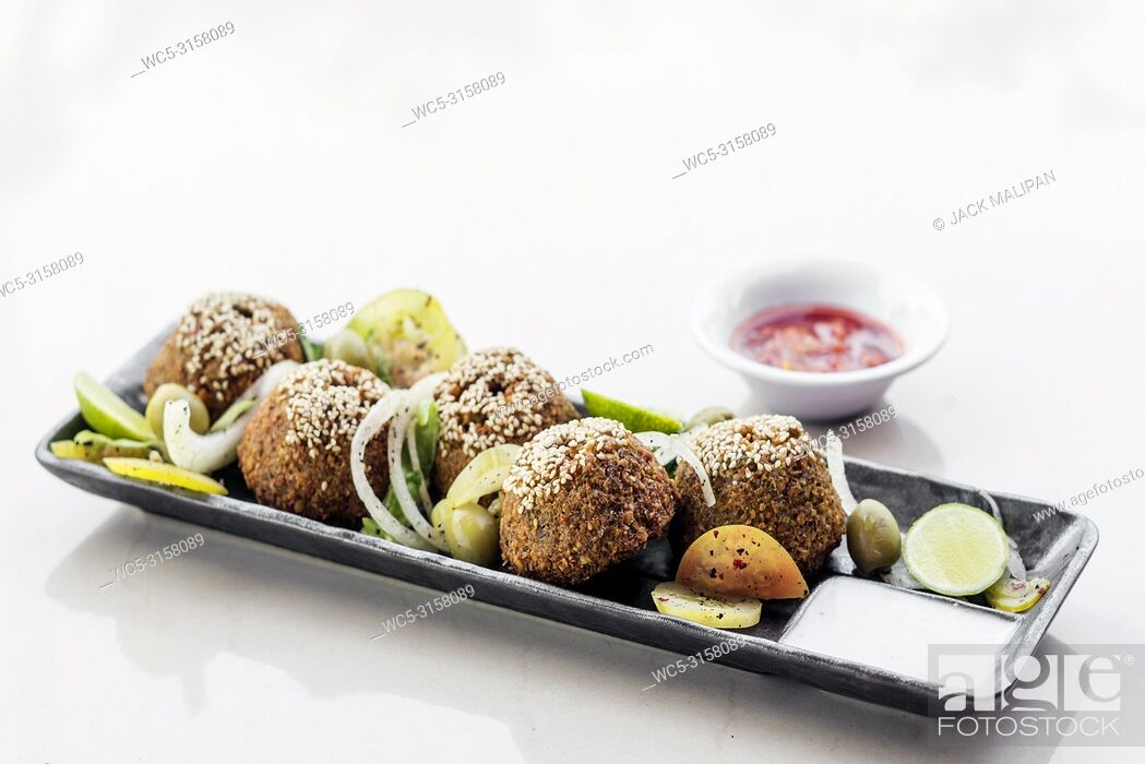 Stock Photo: chickpea falafel traditional middle eastern food snack platter starter set.