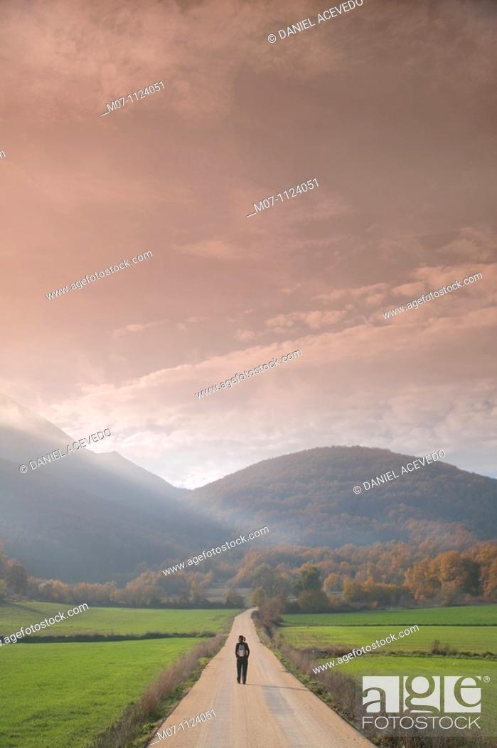 Stock Photo: Nature walk, Basque Country, Alava, Cantabria range mountain.