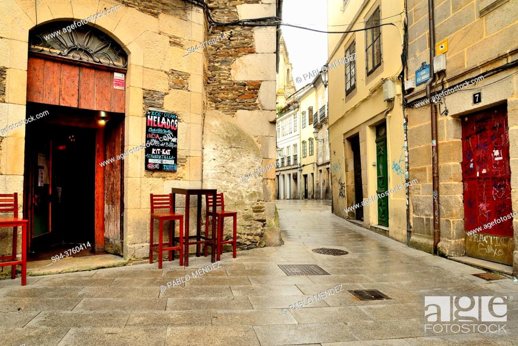 Stock Photo: Square in the old city of Lugo, Spain.