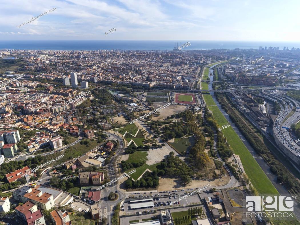 Stock Photo: Aerial view of Besòs river and Santa Coloima de Gramenet. Barcelona, Spain.
