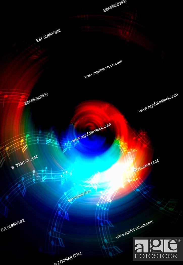 Imagen: silhouette of music Audio Speaker and note, abstract background, Light Circle. Music concept.