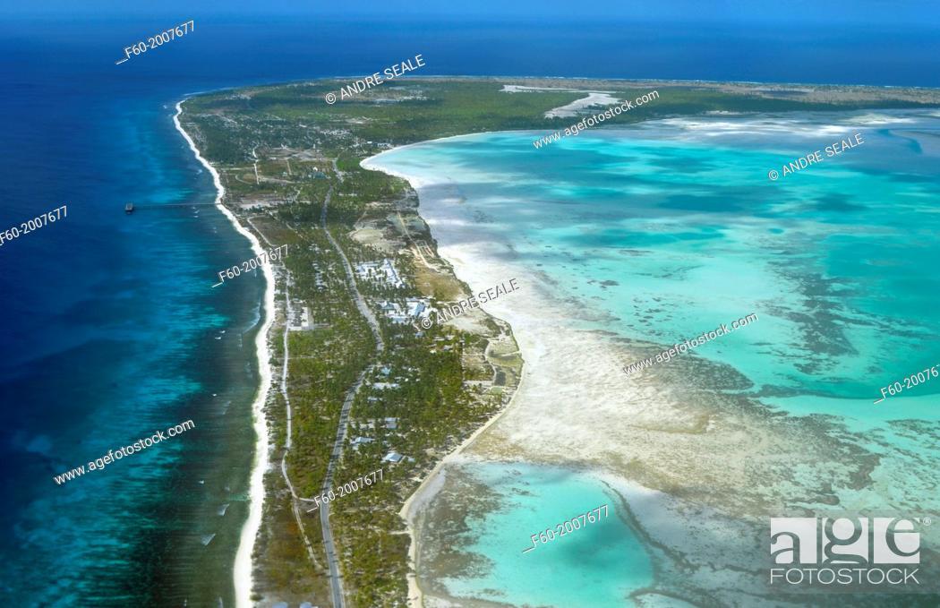 Aerial view of Christmas Island (Kiritimati), Kiribati, Stock Photo ...