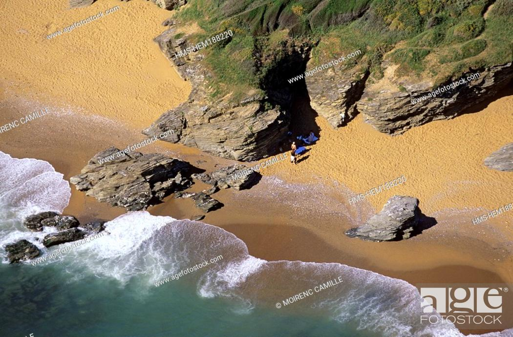Stock Photo: France, Loire Atlantique, beach near Pointe de Saint Gildas aerial view.