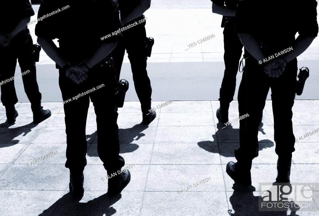 Stock Photo: Armed Spanish police Policia Local on parade in Las Palmas, Gran Canaria, Canary Islands, Spain.