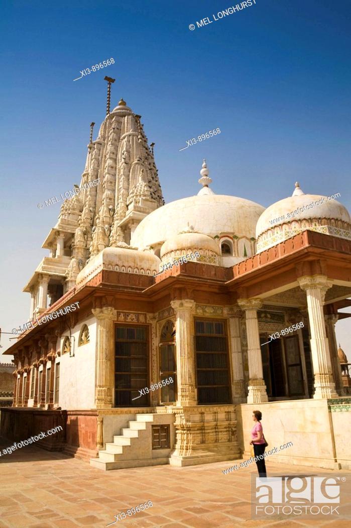 Stock Photo: Bhandasar Jain Temple, Bikaner, Rajasthan, India.