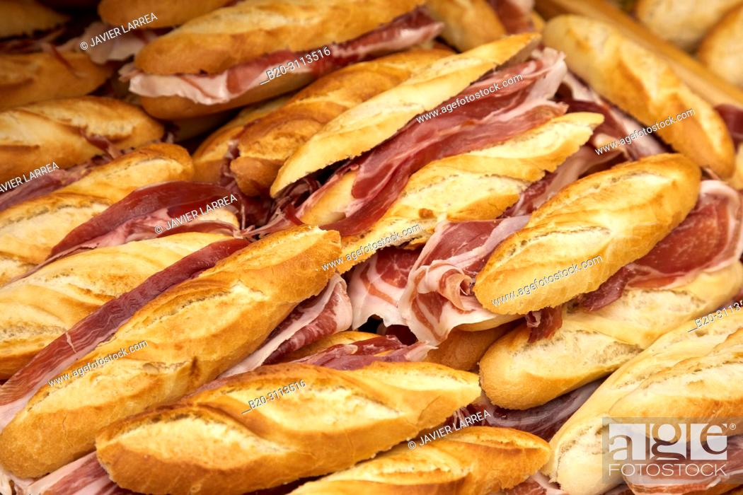 Stock Photo: Ham sandwich, Catering in congress, Kursaal Congress Palace, Donostia, San Sebastian, Gipuzkoa, Basque Country, Spain, Europe.