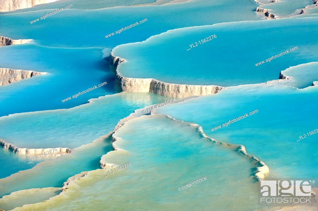 Stock Photo: Photo & pictures of Pamukkale Travetine Terrace, Turkey  Photography of the white Calcium carbonate rock formations  Buy as stock photos or as photo art prints.