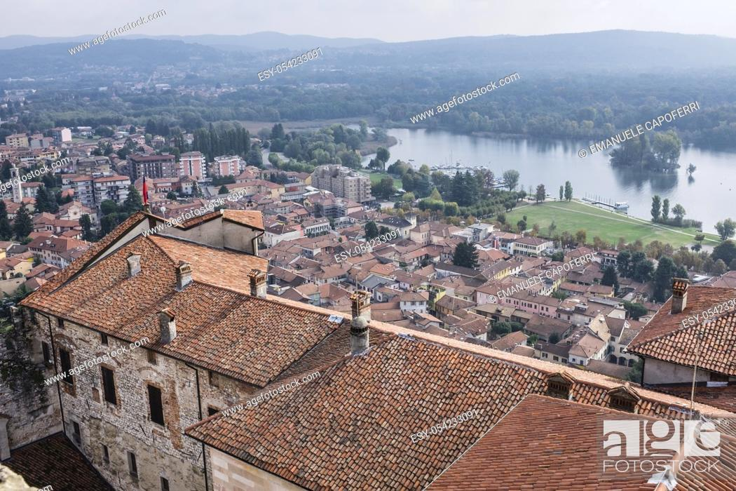 Stock Photo: Overlooking the village of Angera from the medieval castle on Lake Maggiore, Rocca Borromeo, Angera, Italy.