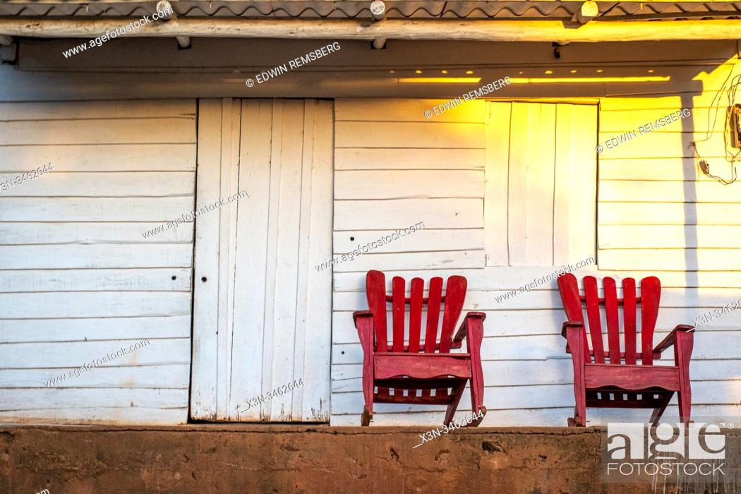 Stock Photo: Some relaxing seating on the front porch , Vinales, Cuba.