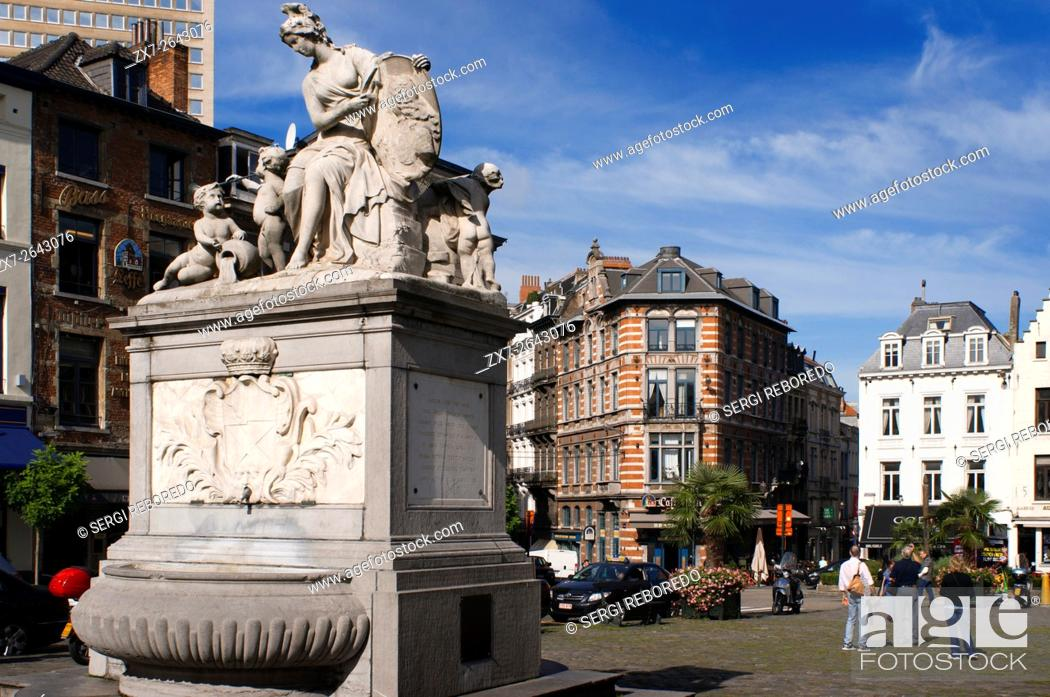Stock Photo: Fountain by Jacques Berge in 1751 at the Place du Grand Sablon, Brussels, Belgium. At number 40 is the Musée des Postes et Telecommunications.