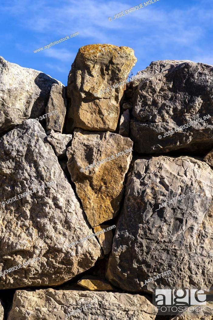 Stock Photo: Greek / Roman archeological site of Ampuries, Greek wall, Girona, Catalonia, Spain.