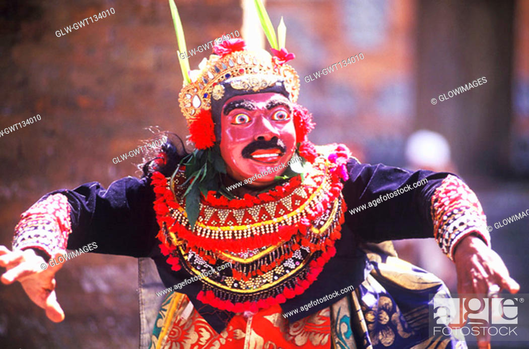 Stock Photo: Close-up of a Balinese stage performer performing, Bali, Indonesia.