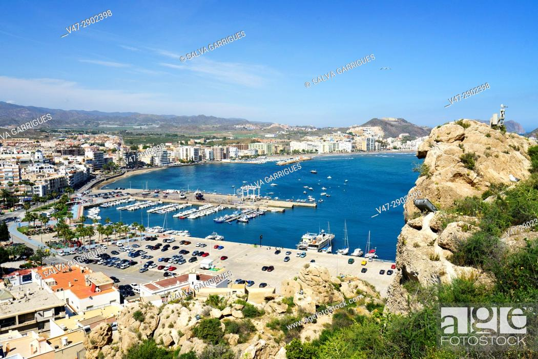 Stock Photo: Panoramic view of the beach and the port of Aguilas, Murcia, Spain.